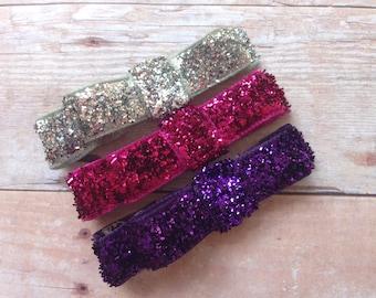 Set of 3 glitter hair clips - hair bows, hair clips, bows, hair bows for girls, baby bows, hair clips for girls, baby hair clips, hairbows