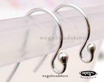 20 pcs 20 Gauge Ball End 925 Sterling Silver Earwires Earring Hooks F224