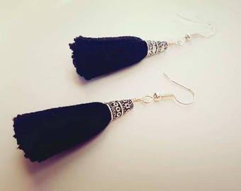 Black tassel earrings with silver tone caps