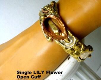 Bracelet, Brutalist Copper Brass Silver Cuff,   Lily Flower, Artsy Warrior Design, Handmade Sculptural Modern Primitive Style
