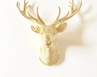 GOLD, Small Deer Head, Faux Taxidermy, Faux Stag Head, Faux Deer Head, Deer Head, Mini Deer Head, Mini Animal Head, Gold Animal Head, Stag