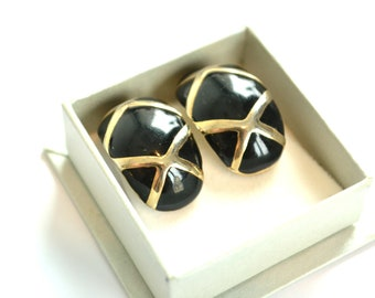 Clip On Earrings / Black and Gold Earrings / 80s Earrings / Statement Earrings / Vintage Earrings / Gift for Her / Gift for Mother