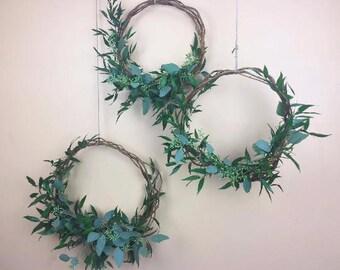 FRESH Mixed Hoops, Greenery Hoops, Wedding hoops, Eucalyptus, Flower Rings, Floral Hoops, Photo Props, Hoop Wreath, Nursery decor, wreaths