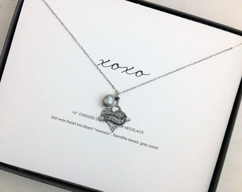 "xoxo heart necklace, 16"" sterling silver, grey pearl, personalized necklace card, christmas, valentine, friend, daughter, mother"