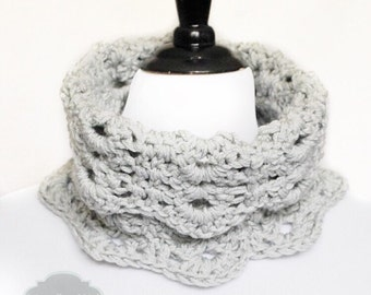 Gray Crochet Cowl, Scalloped Neck Warmer, Infinity Scarf, Collar - Lacy Crochet, Neutral,  Light Pearl Gray, Dove Grey
