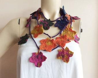 Autumn Leaf Necklace-Autumn Crochet Scarf-Maple Autumn Scarf-Elf Necklace-Mustard Orange Burgundy Wine Mohair Crochet Scarf
