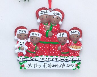 Brown Family of 6 in Pajamas Personalized Christmas Ornament / African American / Family Ornament / Personalized Ornament