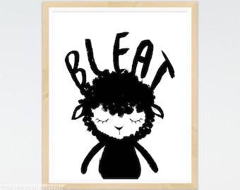 Black Sheep Nursery Art, Sheep Art Print, Black and White Lamb Art, Scandinavian, Nursery Wall Art, Monochrome Nursery Art, Peekaboo Animal