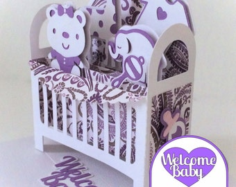 Baby Crib Card In A Box 3D SVG