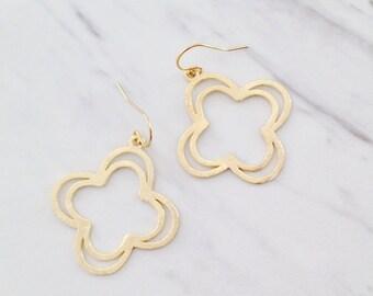 Gold Clover Earrings | Brushed Gold Earrings | Boho Earrings | Simple Dainty Earrings