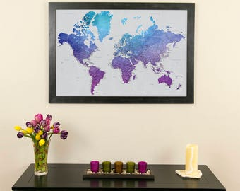 Executive world travel map with pins and frame push pin vibrant violet watercolor world map with pins and frame push pin travel map pin your travels gifts for her gifts for anniversaries gumiabroncs Images