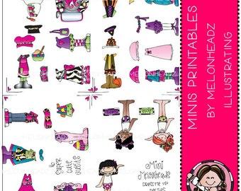 Paper Dolls clip art - Mini Melonheadz - Combo Pack