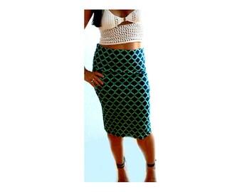 Fishnet print stretch skirt. Women knit knee pencil skirt- fashion low rise green skirt- Print cotton skirt- Casual body fitted skirt
