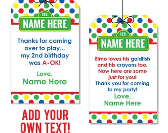 EDITABLE INSTANT DOWNLOAD Sesame Street Party Favor Tags - Editable, printable birthday party favor tags