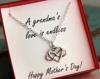 Mother's Day Necklace for Grandma - Infinity Heart Necklace - Sterling Silver Jewelry - Endless Love