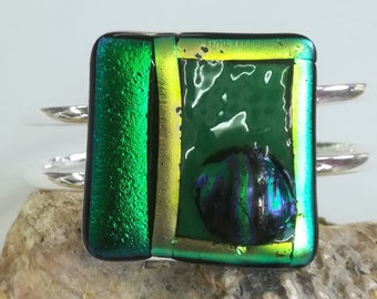 Silver Plated Bullseye and Dichroic Double cuff bracelet in stunning greens