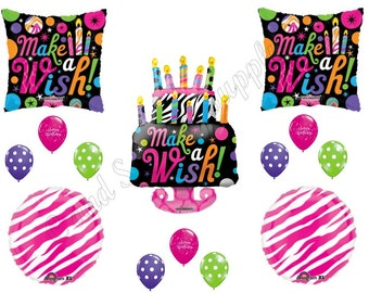 ZEBRA MAKE A Wish Cake Happy Birthday Party Balloons Decorations Supplies 16th 13th