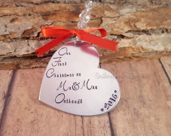 Personalized Christmas Ornament - Couples First Christmas - Newlyweds - Mr and Mrs - Hand Stamped - Metal Heart - Wedding - Engagement