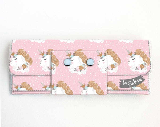 Vinyl Long Wallet - Pink Unicorn / vegan, large wallet, clutch, card case, vinyl wallet, handmade, floral, cute, mythical, girls