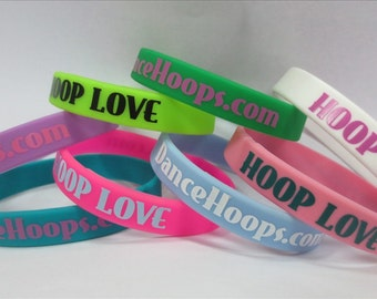 HOOP LOVE Hula Hoop Slap Band Silicone Bracelet Reminder Pink Teal Neon Green
