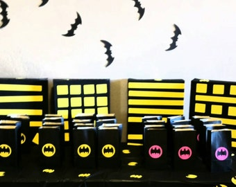 Batman birthday party bags, batgirl birthday party bags,  goodie bags, candy bags, treat bags 12 COUNT