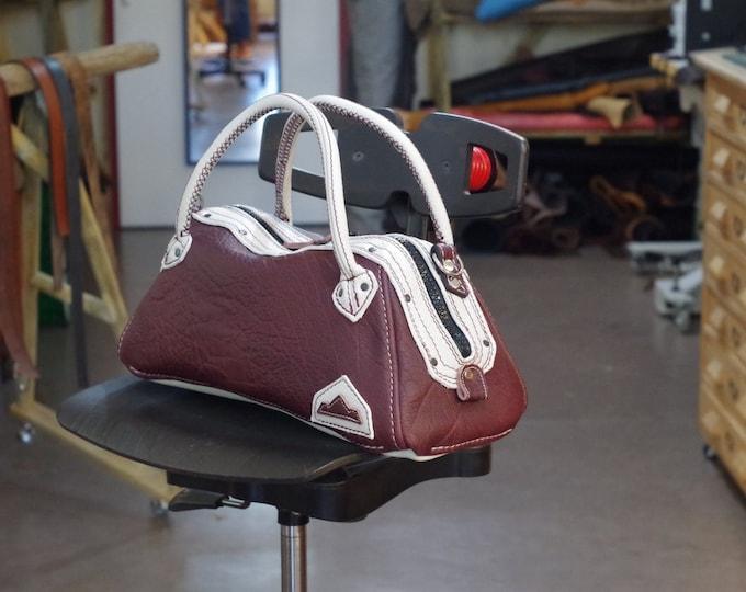 handbag, bowling, 24 purple and light blue leather