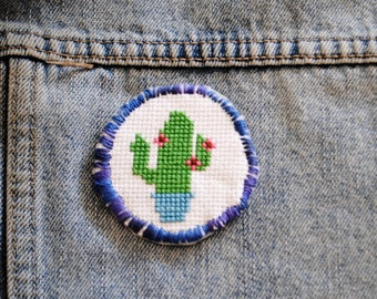 Cactus Cross Stitch / Cross Stitch Iron on Patch  / Wearable Art / Cactus / Handmade Gift / Cross Stitch / Iron on Patch / Birthday Gift