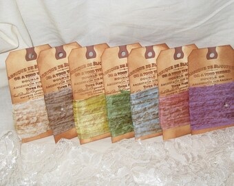 Seam Binding French Script Hand Stamped and Aged Seam Binding 7 Assorted Pack Vintage Colors