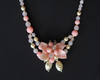 Pink Flower Choker Necklace Vintage 1940s