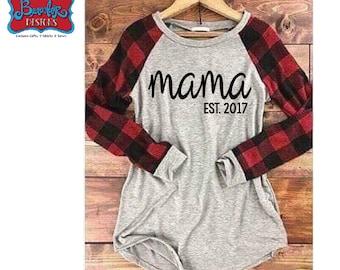 Mama Established Custom Year Design on Light Grey and Buffalo Plaid Ladies' Raglan T-Shirt
