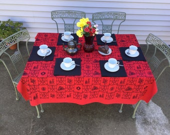 "Printed Tablecloth Red & Black Print Table Cover 58"" x 60""  Cotton Blend Table Cloth Vintage Table Linen"