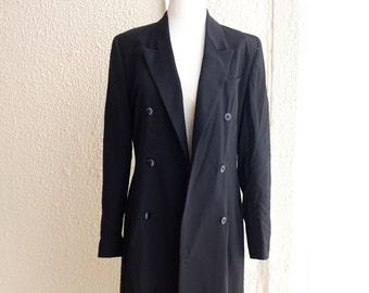 Black Maxi Wool Suiting Coat Minimalist Modern Classic Menswear   XS to Small   Vintage