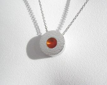 Modern Hammered Necklace – Modern Contemporary Jewelry – Industrial Necklace – Industrial Jewelry – Citrus Orange Pendant