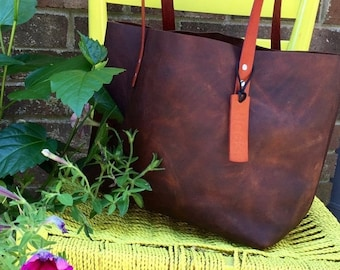 Summer Is Here Sale Brown Leather Bag* Brown Leather Tote* Leather Handbag* Leather Boho Bag* Soft Brown Leather Tote* Handmade in the USA*