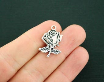 10 Rose Charms Antique  Silver Tone - SC982