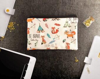 Fox design theme (sm) zipper pouch, pencil pouch, fox gift bag, fox pouch, gift pouch, makeup organizer bag, gift for her, girlfriend gift,