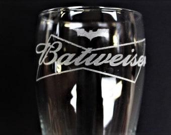 Batweiser Batman Inspired Engraved Beer Glass