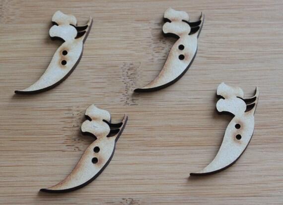 4 Craft Wood Gum-nut Buttons, 3.2 cm Wide, Laser Cut Wood