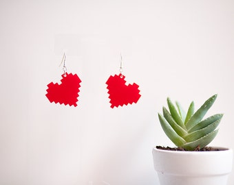 8-Bit Heart Drop Earrings