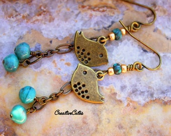 Rustic Boho Bird Earring Dangles with African Turquoise & Czech Glass Beads, Rustic Brass Sparrow Charms, Charming Bohemian Hippie Chic