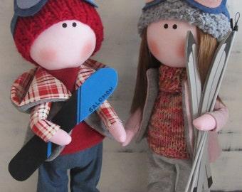 skiers dolls, fabric doll, handmade doll, personalized doll, cloth doll, tilda doll, textile doll, tilda, cloth doll handmade, gift