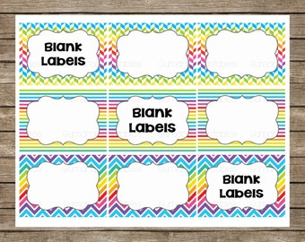 Rainbow Blank Labels ~ Gift Tags ~ Instant Download ~ Party Supplies ~ Tags ~ Printable Party Decor ~ Birthday Tags ~ Table Labels