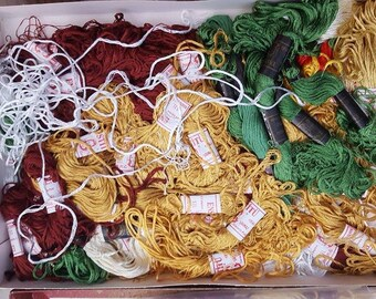 Lot of Vintage embroidery yarn - Embroidery skeins- Tapestry yarn