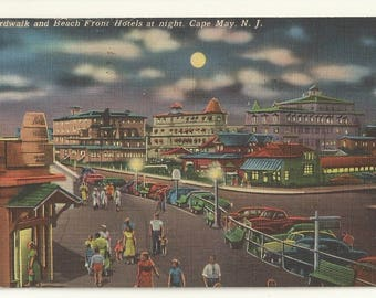 1950s Linen Postcard- Boardwalk & Beach Front Hotels at Night, Cape May, Cape May County, New Jersey, N.J. ~ Free Shipping