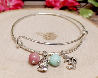 Buddha Om Charm Bangle Bracelet - Adjustable Bangle - Charm Bracelet