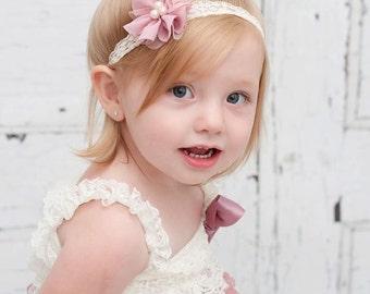 Mauve Flower Headband, Vintage Lace Headband, Ivory Headband, Dressy Headband, Mauve Ivory Headband, Newborn Photo Prop, Baby Shower Gift