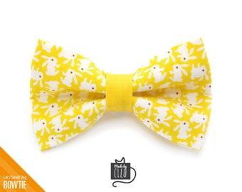 """Easter Cat Bow Tie - """"Hoppy Hour / Yellow"""" - Bunny Cat Collar Bow Tie / Kitten Bow Tie / Rabbit / Small Dog Bow Tie - Removable (One Size)"""