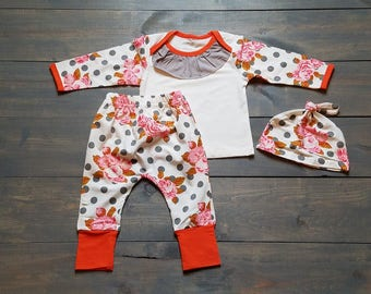 Infant Baby Girls Outfit 3 Piece Set, Polka Dot Floral Girls Clothing #G-01