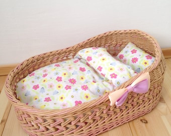Bed for doll, doll cradle, crib doll, doll furniture, bed, doll bed, handmade bed for dolls, bed for toys, bed room for doll,Waldorf doll