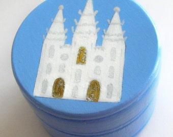 Hand Painted Love Boxes Blue Bountiful Salt Lake Temple Box Wood